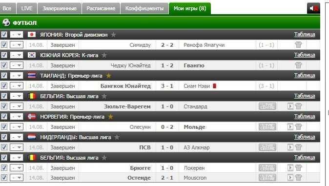 Результаты бесплатного прогноза на футбол на 14.08.2016