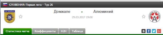 Прогноз на футбол на матч Домжале - Алюминий
