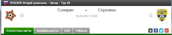 Прогноз на футбол на матч Солярис - Строгино
