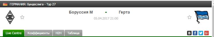 Прогноз на футбол на матч Боруссия М - Герта