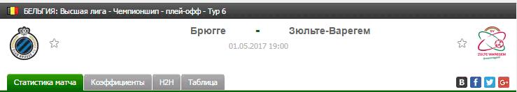 Прогноз на футбол на матч Брюгге - Зюльте