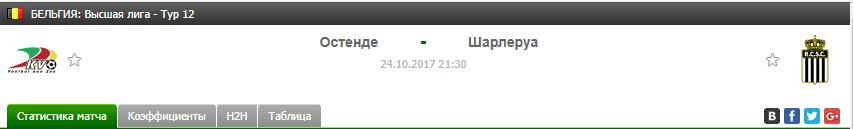 Прогноз на футбол на матч Остенде - Шарлеруа